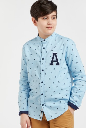 All-Over Print Shirt with Long Sleeves and Embroidered Detail