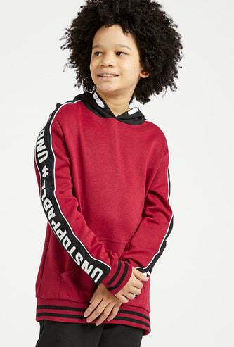 Solid Sweatshirt with Printed Long Sleeves and Hood