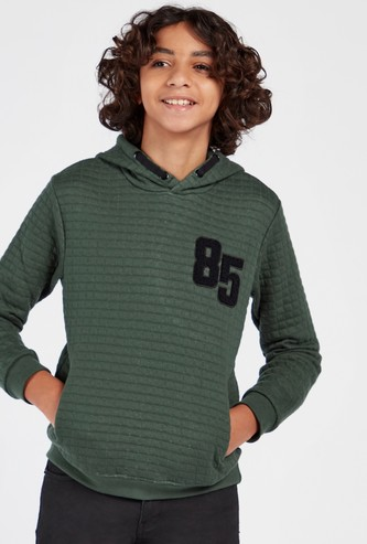 Quilted Hoodie with Long Sleeves and Pockets