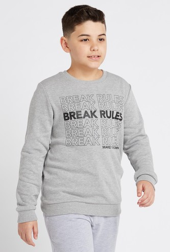 Graphic Printed Sweatshirt with Crew Neck and Long Sleeves