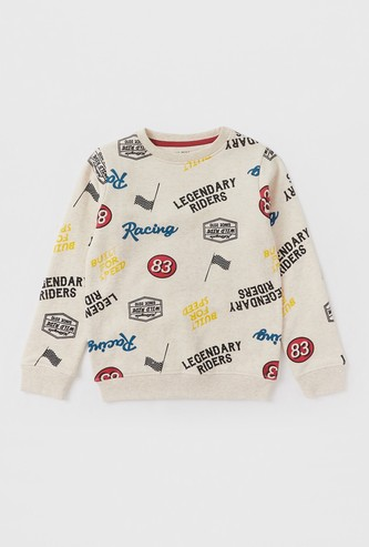 All-Over Printed Sweatshirt with Round Neck and Long Sleeves