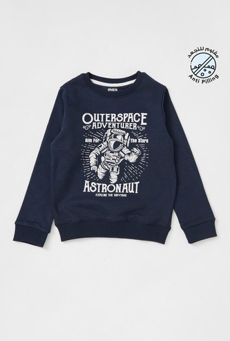Space Print Sweatshirt with Round Neck and Long Sleeves