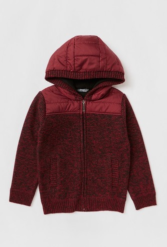 Solid Sweater with Hood and Long Sleeves