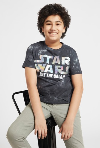 Star Wars Marble Print T-shirt with Round Neck and Short Sleeves