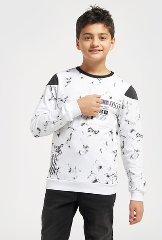 Marble Print Sweatshirt with Crew Neck and Long Sleeves