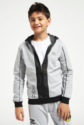 Printed Zip Through Jacket with Hood and Long Sleeves