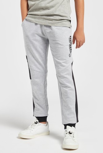 Side Panel Graphic Print Cuffed Jog Pants with Drawstring Closure