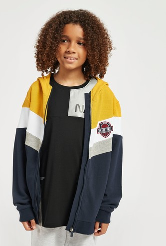Colourblock Zip Through Hooded Jacket with Pockets
