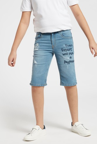 Printed Distressed Denim Shorts with Pockets