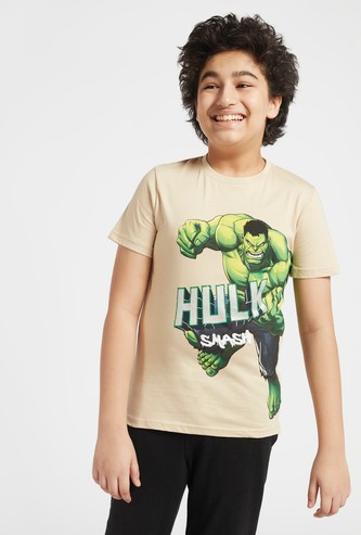 Hulk Print T-shirt with Round Neck and Short Sleeves