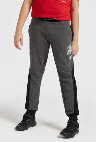 Avengers Logo Print Jog Pants with Pockets and Drawstring Closure