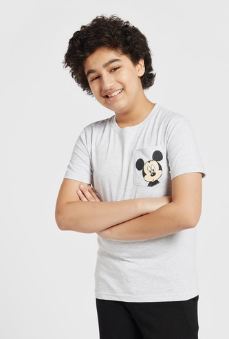 Mickey Mouse Print T-shirt with Round Neck and Patch Pocket