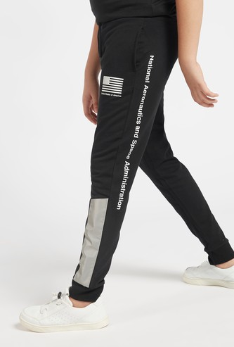 NASA Print Jog Pants with Reflective Panel Detail and Drawstring