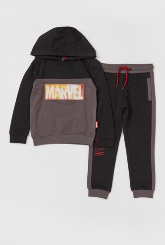 Marvel Print Sweatshirt with Hood and Jog Pants Set