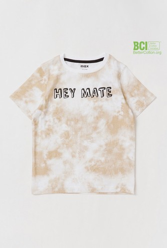 Tie-Dye Print Round Neck T-shirt with Short Sleeves