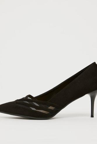 Textured Slip-On Pumps with Stiletto Heels