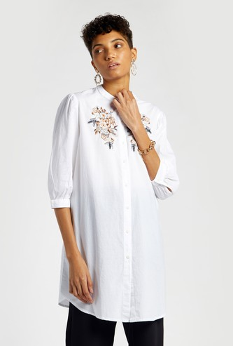 Embroidered Tunic with Mandarin Collar and 3/4 Sleeves