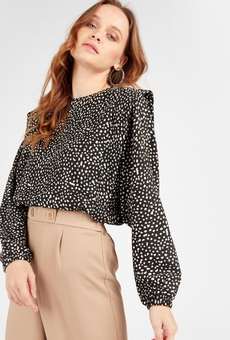 Printed Round Neck Top with Loose Long Sleeves