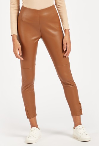 Solid Mid-Rise Cropped Treggings with Button Detail and Elasticised Waist