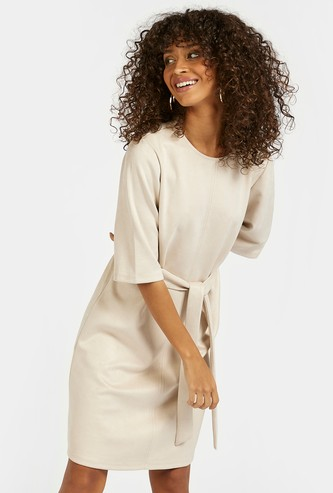 Solid A-line Dress with 3/4 Sleeves and Belt