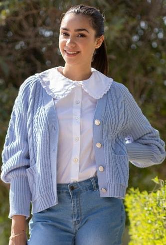 Textured V-neck Cardigan with Pockets