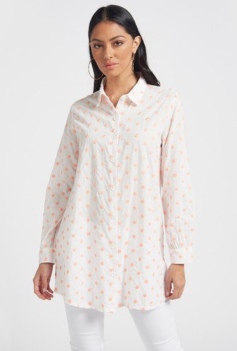 Textured Tunic Shirt with Spread Collar and Long Sleeves