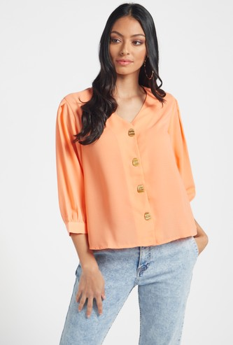 Solid V-neck Shirt with  Dolman Sleeves