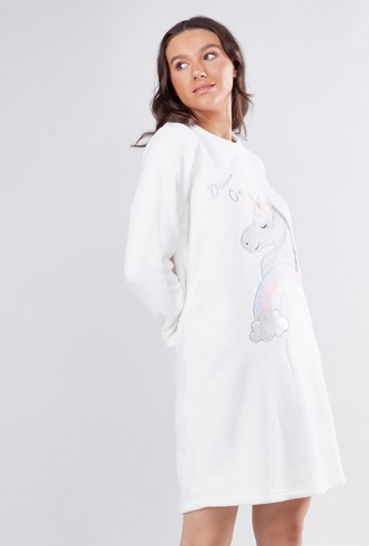 Cozy Collection Round Neck Sleep Dress with Long Sleeves