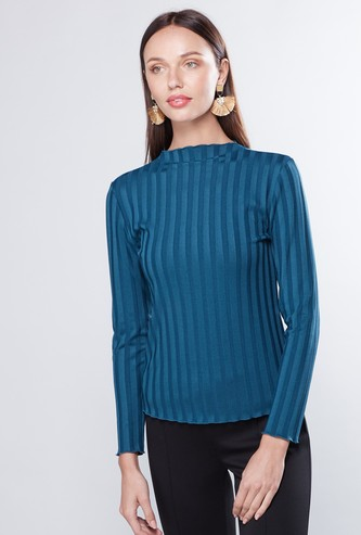 Textured High Neck Top with Long Sleeves