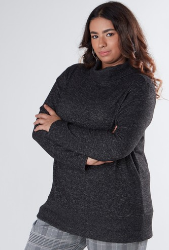 Textured Sweatshirt with Cowl Neck and Long Sleeves
