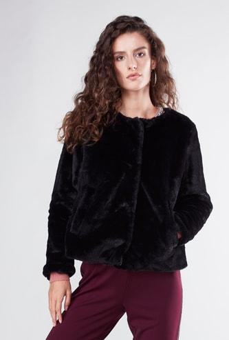 Textured Fleece Jacket with Zip Closure and Long Sleeves