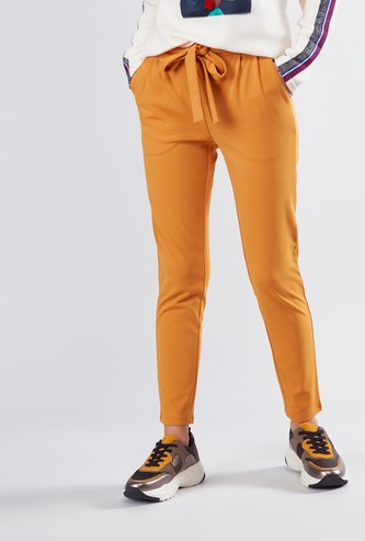 Plain Cropped Crepe Pants with Pocket Detail and Tie Ups