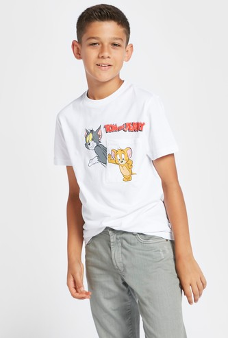 Tom & Jerry Print T-shirt with Round Neck and Short Sleeves