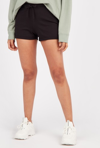 Solid Shorts with Elasticated Drawstring Waistband