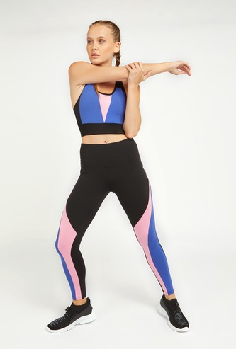 Full Length Colourblock Leggings with Elasticised Waistband