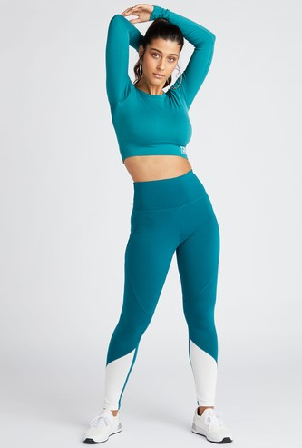 Colour Block Leggings with Elasticated Hem