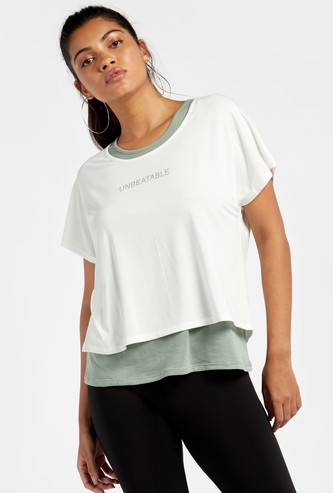 Printed Double Layered Round Neck T-shirt with Cap Sleeves
