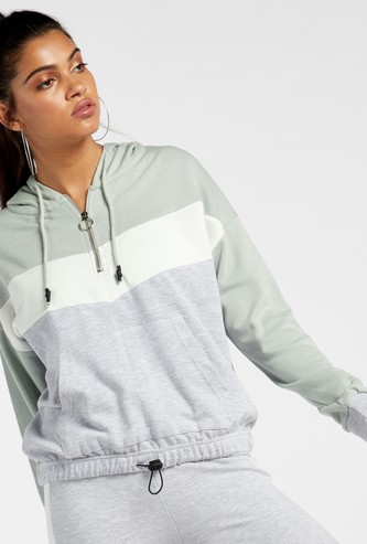 Colour Block Sweat Top with Hood and Pockets