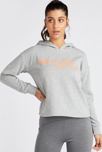 Slogan Print Sweatshirt with Long Sleeves and Hood