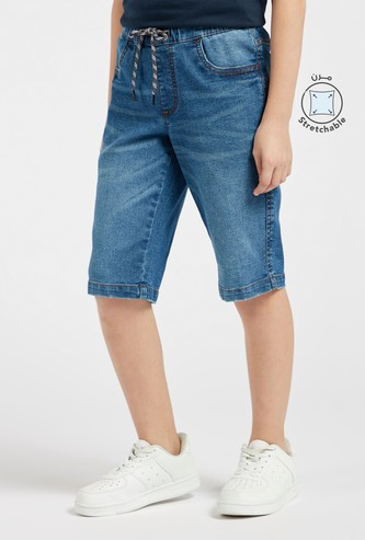 Solid Denim Shorts with Pocket Detail and Drawstring Closure