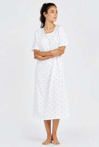 Floral Print Sleepdress with Short Sleeves