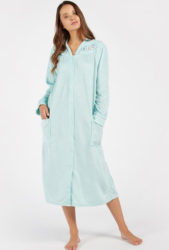 Cozy Collection Embroidered Long Sleeves Sleep Gown with Pockets