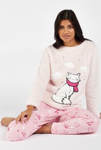 Cozy Collection Plush Cat Print Round Neck Sweatshirt and Pyjama Set