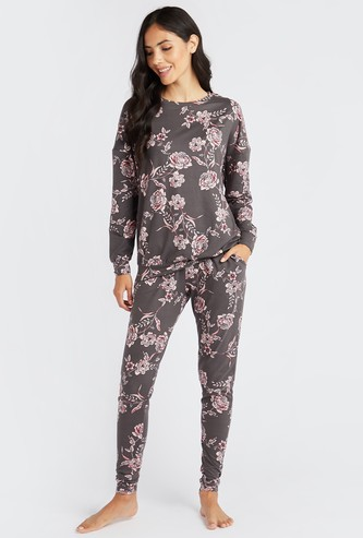 Cozy Collection Floral Print T-shirt and Full Length Pyjama Set