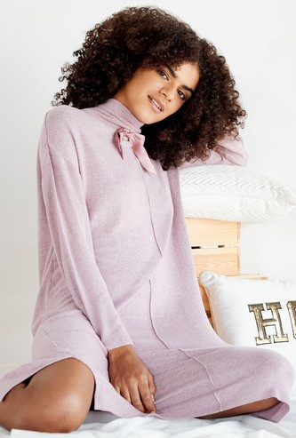 Cozy Collection Solid High Neck Sleep Dress with Bow Applique