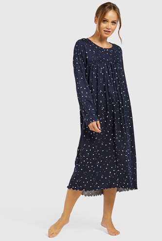 Star Print Round Neck Sleep Gown with Long Sleeves