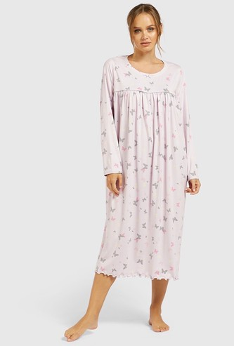 Butterfly Print Round Neck Sleep Gown with Long Sleeves