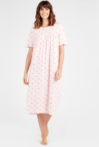 Floral Print 3/4 Sleepdress with Short Sleeves
