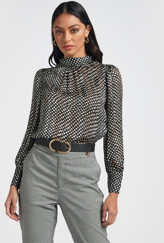 Printed High Neck Top with Long Sleeves