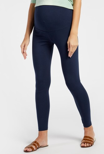 Solid Mid-Rise Ankle Length Maternity Leggings
